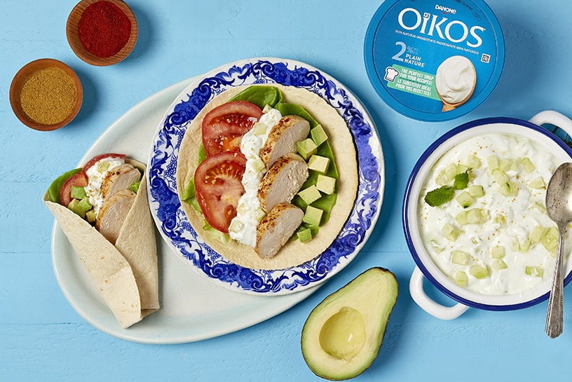 Chicken gyros rolls and homemade tzatziki with Greek yogurt