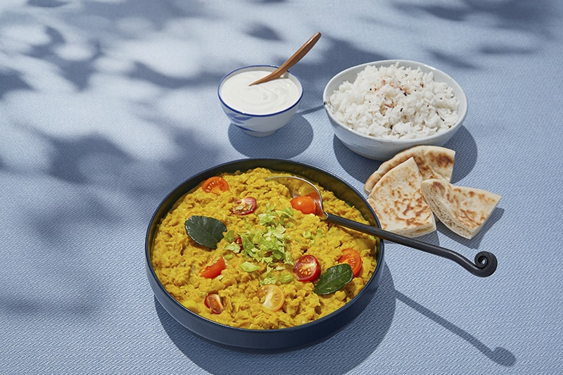 Red lentil dhal with rice and salted yogurt